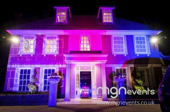 Uplighting on a house example